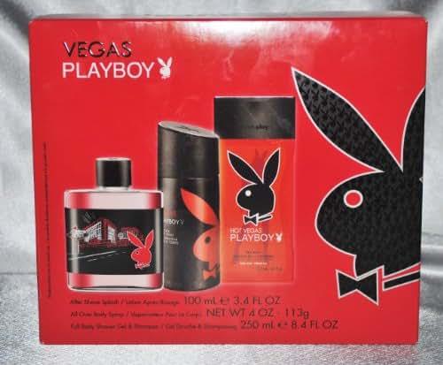 Vegas Playboy Cologne Set Aftershave, Body Spray, Gel/Shampoo
