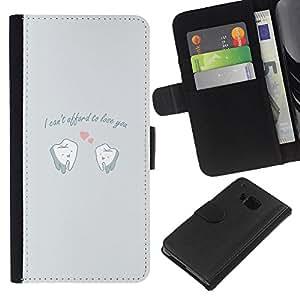 KLONGSHOP // Tirón de la caja Cartera de cuero con ranuras para tarjetas - DIVERTIDO NO PUEDE PAGAR EL AMOR - HTC One M7 //
