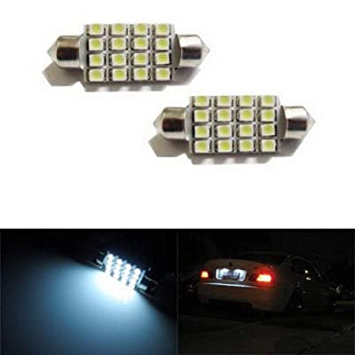 "iJDMTOY 16-SMD 1.60"" 39mm 6418 C5W LED License Plate Light Bulbs, Xenon White: Automotive"