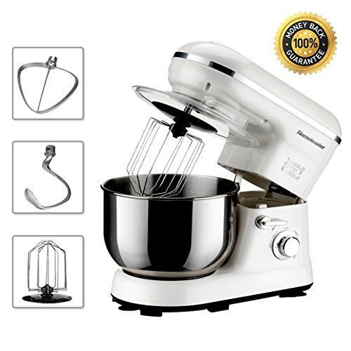 Cheap Homeleader Power Stand Mixer, Food Mixer, Kitchen Electric Mixer with Double Dough Hook, Whisk, Beater, Splash Guard, 5-speed, 4.5 Quart Stainless Steel Bowl, White, 800W
