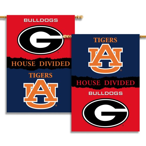 NCAA Georgia - Auburn 2-Sided 28-by-40 inch House Banner with  Pole Sleeve- Rivalry House Divided Rivalry House Flag