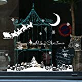 Window Decal Stickers Clings Christmas Decors Christmas Snow Glass Restaurant Mall Decoration Window Removable Stickers (As Show)
