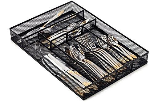 Halter Steel Mesh Large Silverware Cutlery Tray Organizer with No-Slip Foam Feet - Kitchen Organization / Silverware Storage - 16'' X 11.25'' X 2'' - 2 Pack by Halter (Image #1)