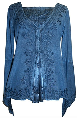 01 B Agan Traders Renaissance Gypsy Blouse Top (Large, Blue)