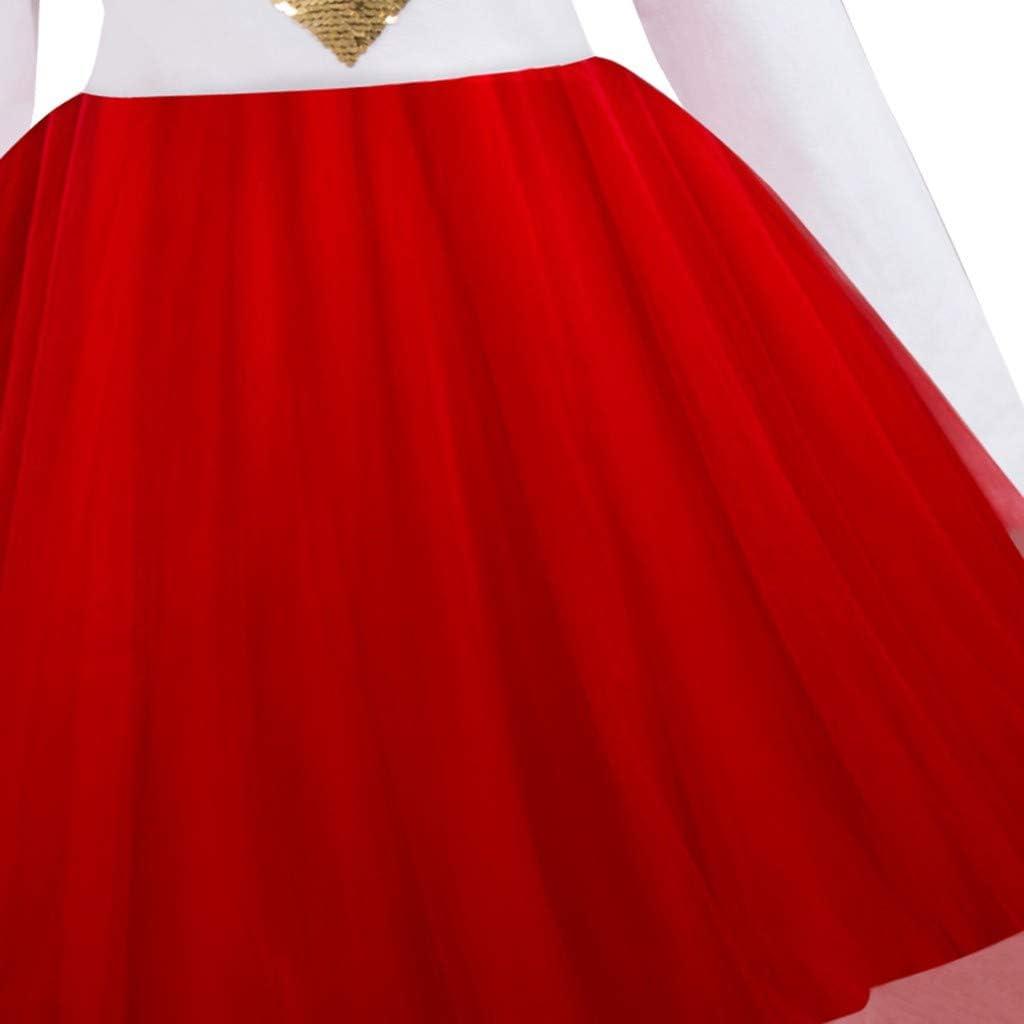 Rolayllovechildren Kids Girl Long Sleeved Sequin Heart-Shaped Print Princess Tutu Dress