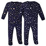 Hudson Baby Baby Zipper Sleep N Play, Metallic Stars 2 Pack, 0-3 Months