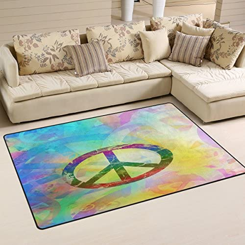 WOZO Designed Abstract Peace Sign Area Rug Rugs Non-Slip Floor Mat Doormats Living Dining Room Bedroom Dorm 60 x 39 inches inches Home Decor
