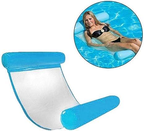 AMhuui Flotadores de la Piscina para Adultos, Hamaca Inflable de natación Premium para Vacaciones, Flotadores de la Piscina Azul, Cama Flotante, Flotador de río Lento,Blue: Amazon.es: Deportes y aire libre