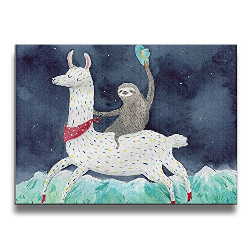 Sloth Riding Llama Canvas Wall Art Decoration Inner Framed Pictures Paintings For Living Room Bedroom Bathroom Home Artwork Decor by Janvonne