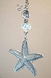 Large Pewter Silver Starfish & Shell with faceted glass crystal Ceiling Fan Pull Chain