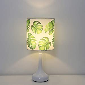 HAITRAL Table Lamp - Modern Bedside lamp with White Brushed Steel Metal Base and Green Leaf Pattern Lamp Shade, Unique Nightstand Lamp for Dresser, White Bedroom, Home Decor, Dorm, Kids