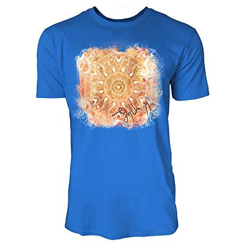 SINUS ART ® Pinkes Paisley Mandala im Ethno Stil Herren T-Shirts in Blau Fun Shirt mit tollen Aufdruck