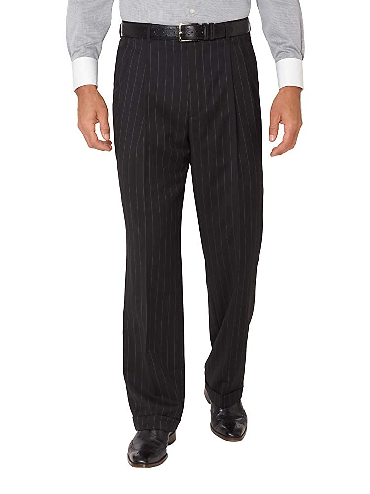 1950s Men's Pants, Trousers, Shorts | Rockabilly Jeans, Greaser Styles Paul Fredrick Mens Super 100s Wool Stripe Pleated Suit Pants Black $99.98 AT vintagedancer.com