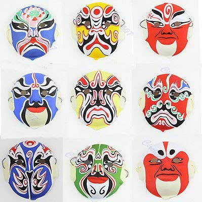 Facial Treatment - Hand Painted Chinese Art Culture Peking Opera Styles Mask Paper Pulp - Paper Black China Mask Mask Mask Facial Blank Halloween Paper The Facial Knob Opera Treatment Oil Beijing]()