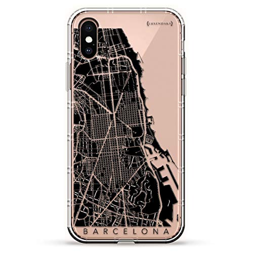 BARCELONA STREETS MAP | Luxendary Air Series Clear Silicone Case with 3D printed design and Air-Pocket Cushion Bumper for iPhone Xs Max (new 2018/2019 model with 6.5