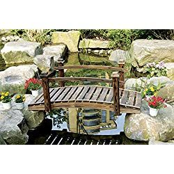 PierSurplus Rustic Wood Garden Bridge with Posts and Wooden Hand Rails Product SKU: PL54203