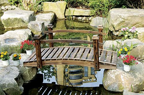PierSurplus Rustic Wood Garden Bridge with Posts and Wooden Hand Rails Product SKU: PL54203