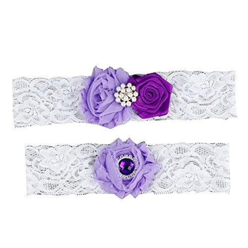 Rimobul Rose Wedding Bridal Garters with Toss Away - Set of 2 (Purple) ()