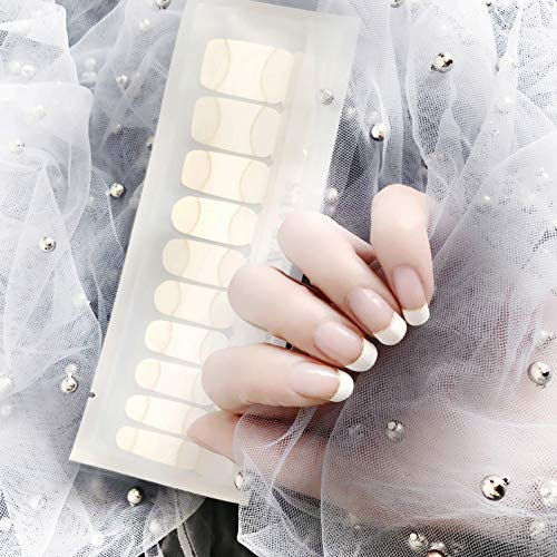 Color Lab 22PCS ADHESION Nail Art Transfer Decals Sticker French Series DIY Nail Polish Strips,Nail Wraps, 100% Real Nail polish French Bent