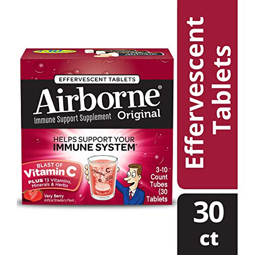Airborne Very Berry Flavored Effervescent Tablets, 30 count- Vitamin C 1000mg - Immune Support Minerals & Herbs,  Antioxidants (Vitamin A, C & E), Zinc, Fast Absorption, Gluten-Free & No Preservatives
