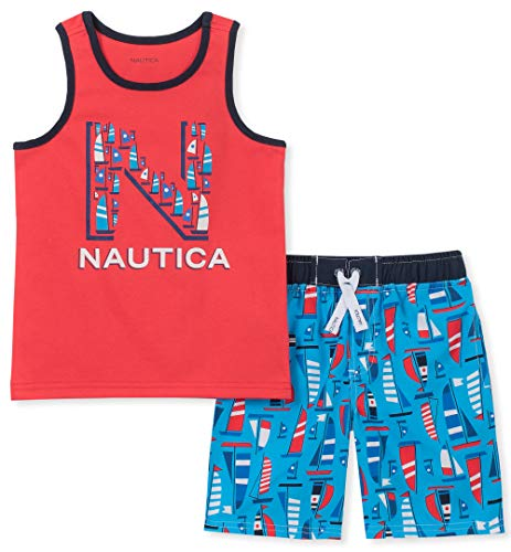 Nautica Baby Boys 2 Pieces Tank Top with Swim Shorts Set, red/Print, 18M (Nautica Newborn Boy Clothes)