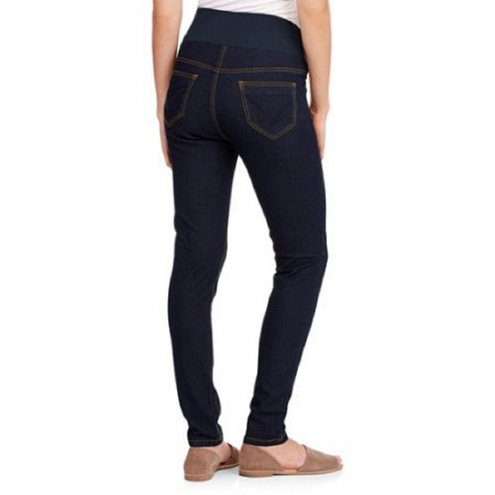 7e51dd15bf7d3 Oh! Mamma Demi-Panel Super Soft Skinny Maternity Jeans Size Large at Amazon  Women's Clothing store: