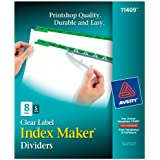 Avery Index Maker White Dividers, 8 Tab, Green, 5 Sets (11409)