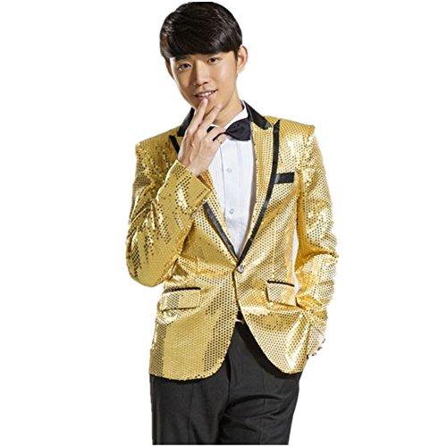 MYS Men's Gangnam Style Bling Sequins Party Tuxedo Suit and Pants Set Gold Size 40R (Mens Party Suits)