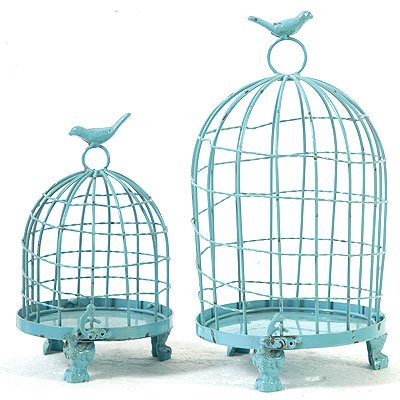 Decorative Metal Bird Cage.Fantasticdecor Decorative Metal Bird Cage Blue 13 9 Set Of 2