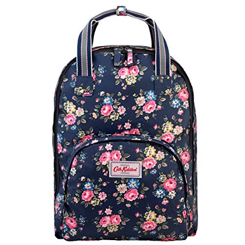 """Cath Kidston Matt Oilcloth Multi Pocket Backpack Fitting 13"""" Laptop Rucksack Latimer Rose Dark Navy"""