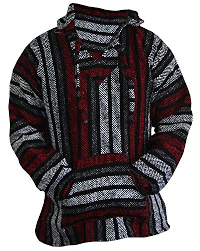 Mexican Baja Hoodie Hippie Surf Poncho Sweater Sweatshirt Pullover Jerga (Large, Red/Gray)