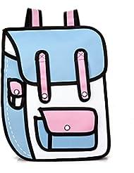 Nuobo 3D Drawing Paper Backpack School Bag Comic Vintage Backpack Laptop Bag for Teenagers (blue pink)