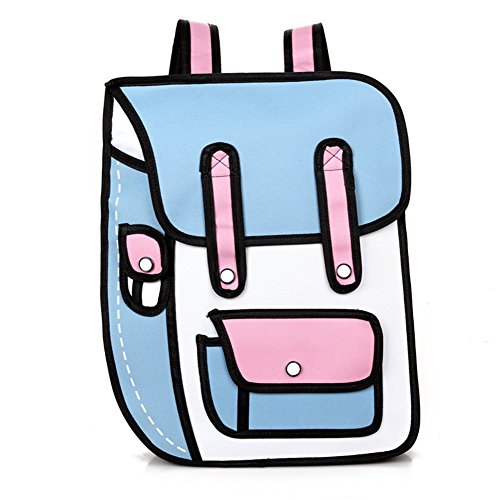 Nuobo 3D Drawing Paper Backpack School Bag Comic Vintage Backpack Laptop Bag for Teenagers (Blue Pink)