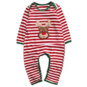 Baby Boys Girls Long Sleeve Christmas Striped Red Nose Reindeer Romper Jumpsuit (70(0-6M), B)