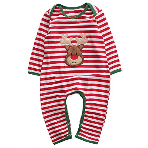 Magical Baby Baby Boys Girls Long Sleeve Christmas Striped Red Nose Reindeer Romper Jumpsuit