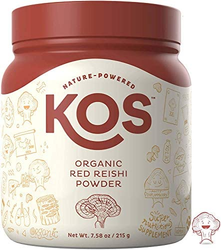 KOS Organic Red Reishi Mushroom Powder – Pure Ganoderma Lucidum Red Reishi Mushroom Supplement – Natural Adaptogen, Nootropic and Powerful Immunity Support – 7.58 Oz. 215g , 50 Servings