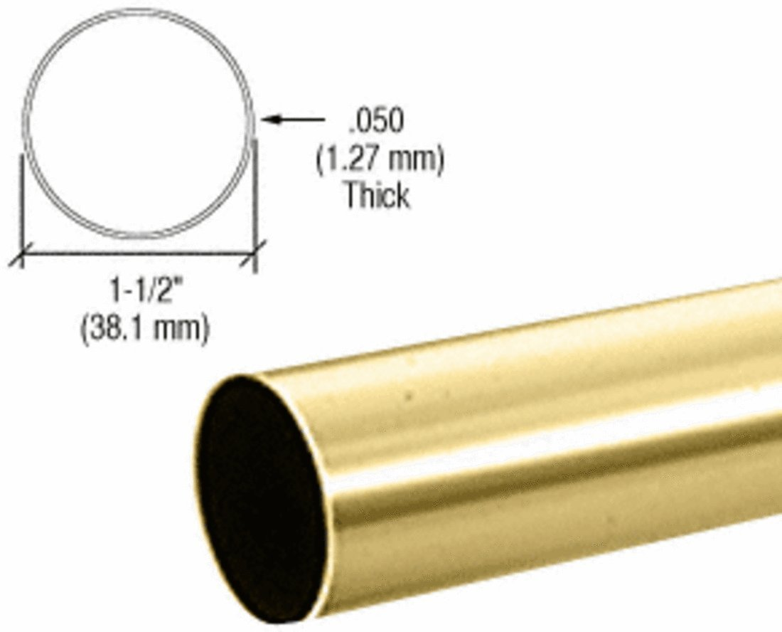 CRL Polished Brass 1-1/2'' Diameter Round .050'' Tubing - 98'' by CR Laurence (Image #2)