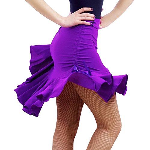 [Full Nice Latin Dance Costume Cha Cha Samba Dance Skirt(Purple,M)] (Chacha Dance Costume)