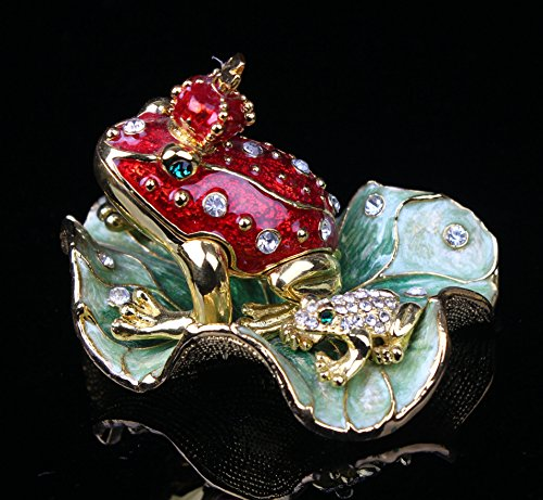 znewlook Legendary Bachelorette Frog Prince Crystals Toad King Crown, Trinket, Keepsake, Jewelry Box Lily Pad (Red, 8.36.85.5 cm (LWH))