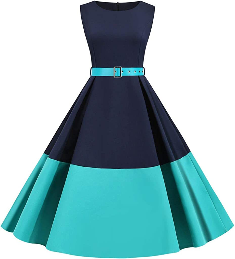 YONSIN Damen kleid 18er Vintage Petticoat Kleid Retro Gepunkte