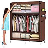 ULHome Portable Clothes Closet Wardrobe Fabric Clothes Storage Organizer (Size - 69 x 43 x 18in) (Coffee)