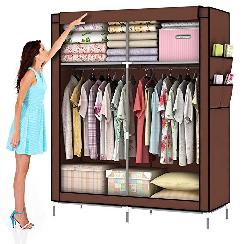 Amanda Home 10140H Portable Clothes Closet Wardrobe Fabric Clothes Storage Organizer (Size - 69 x 43 x 18in) (Coffee.) (Metal Portable Wardrobe Closet)