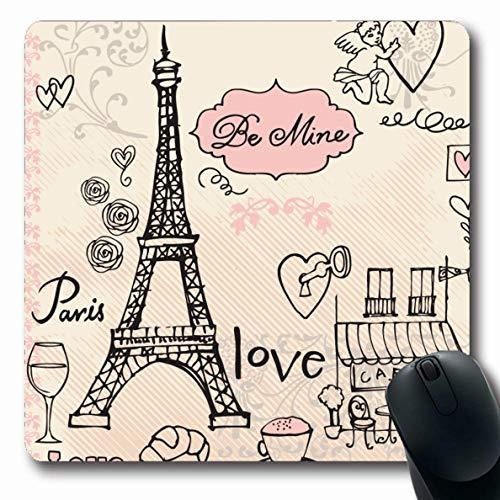 Ahawoso Mousepad Oblong 7.9x9.8 Inches Celebration Pink Tower Love Paris Eiffel Line Sketch Cafe Doodle French Design Croissant Office Computer Laptop Notebook Mouse Pad,Non-Slip Rubber ()