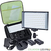 Radiant 2XL Pro 160 Digital SMD LED On-Camera Light Kit Dimmable Rechargeable CRI95 BiColor, 2 NPF550 Li-on, Charger, Case for Video, Camcorder, Nikon, Canon,SONY DSLR and YouTube Videos