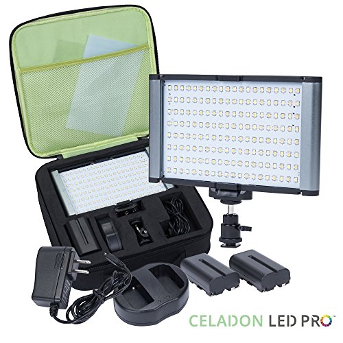 Radiant 2XL Pro 160 LED SMD CRI 95+ Bi-Color Dimmable Rechargeable Camcorder Video and On Camera Light Kit for Canon Nikon Pentax Sony Samsung DSLR and YouTube by CELADON LED PRO
