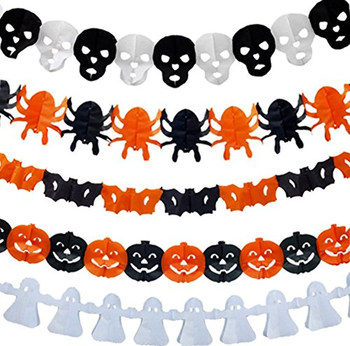LFHT 5 Pcs Precious Halloween Paper Chain Garland Decoration Prop Pumpkin Bat Ghost Spider Skull Shape OH ()