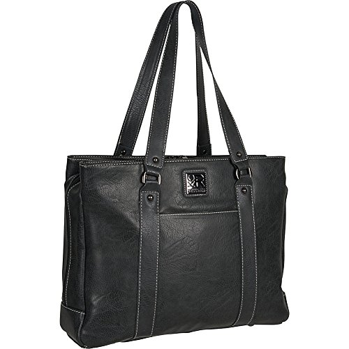 "Kenneth Cole Reaction Women's Faux Leather Triple Compartment Top Zip 15.0"" Computer Business Laptop Tote, Charcoal, One (Kenneth Cole Top Zip Shoulder Bag)"