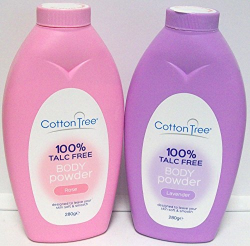 2 x Cotton Tree Body Powder 100% Talc Free For Soft Skin Rose & Lavender 280g