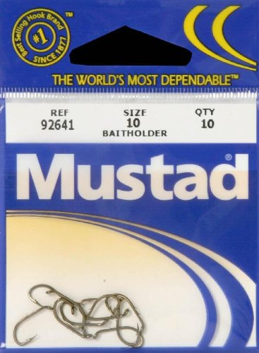 Mustad Classic Reversed Point Forged Turned Down Small Ball Eye Beak Baitholder Hook with Special Long Shank and 2 Baitholder Barbs (Pack of 10), Bronze, ()