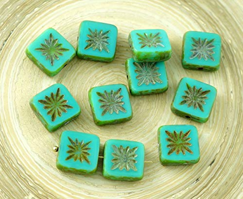 8pcs Picasso Brown Opaque Turquoise Green Rustic Window Table Cut Flat Flower Square Kiwi Czech Glass Beads 10mm x 10mm